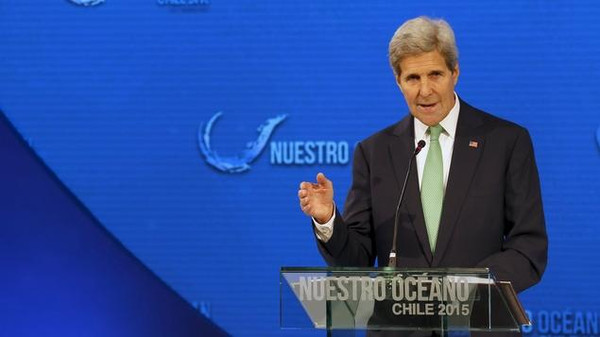 """U.S. Secretary of State John Kerry delivers opening remarks at the """"Our Ocean"""" conference at the Hotel Sheraton Miramar in Vina del Mar city,  October 5,  2015.  Chile on Monday said it would create one of the world's largest marine conservation parks, and Washington announced two new marine sanctuaries and a drive against illegal fishing to help protect the world's oceans. Addressing the conference, Kerry said the United States was increasing efforts to track illegal fishing.  REUTERS/Rodrigo Garrido"""